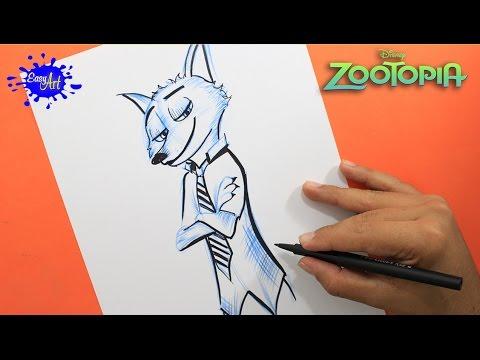 Como dibujar al zorro Nick de Zootrópolis