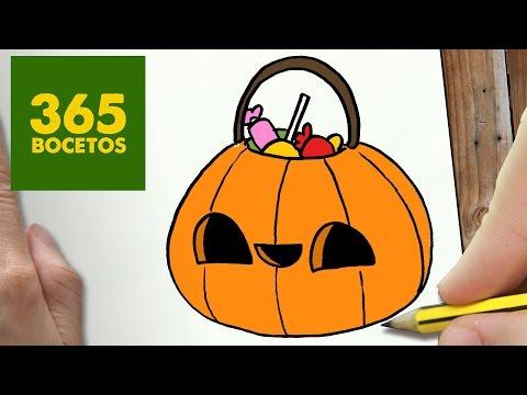 Como dibujar bolsa calabaza de Halloween