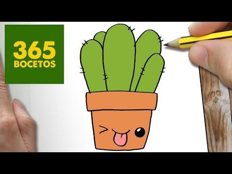 Como dibujar cactus simpático