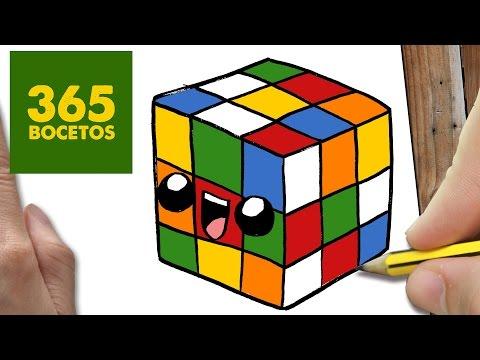 Como dibujar cubo de rubik kawaii