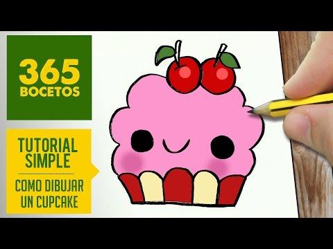 Como dibujar cupcake kawaii