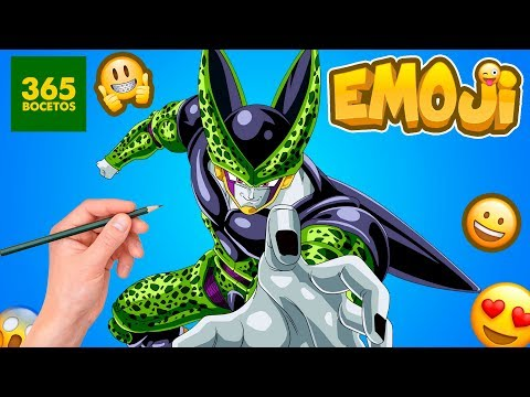 Como dibujar el Emoji de Cell de Dragon Ball Z