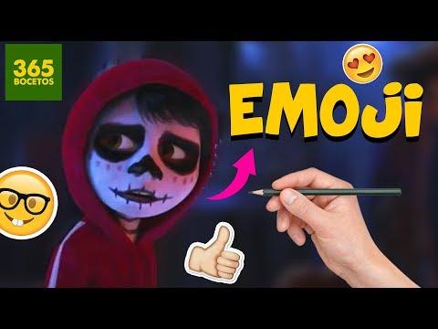 Como dibujar el Emoji de Miguel de Coco fácil