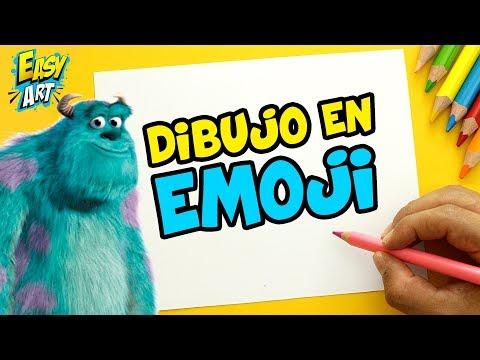 Como dibujar el Emoji de Sulley de Monstruos S.A