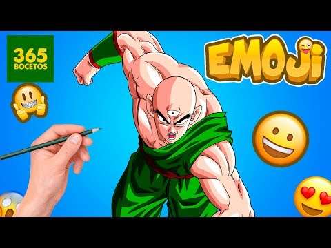 Como dibujar el Emoji de Ten Shin Han de Dragon Ball Z