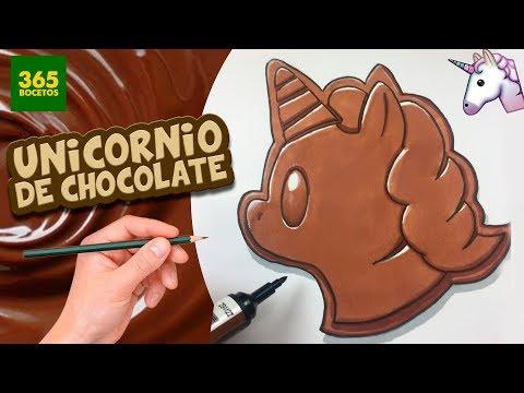 Como dibujar el Emoji de un Unicornio de Chocolate