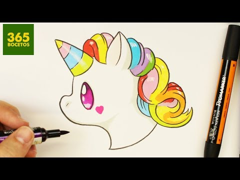 Como dibujar el Emoji de Unicornio estilo kawaii