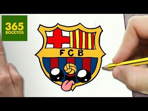 Como dibujar el escudo del FC Barcelona kawaii