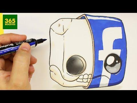 Como dibujar el Logo de Facebook roto kawaii
