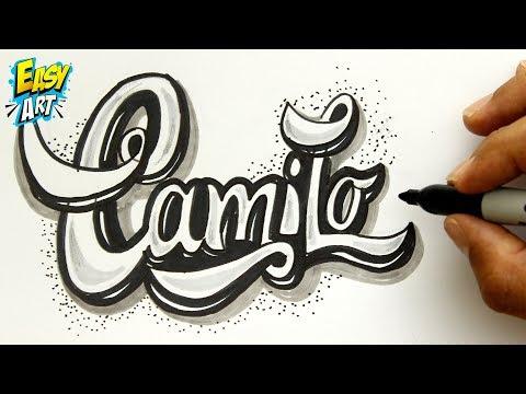 Como dibujar el nombre Camilo en relieve