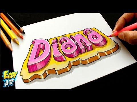 Como dibujar el nombre Diana en 3D