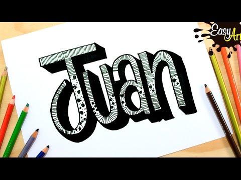 Como dibujar el nombre Juan con relieve