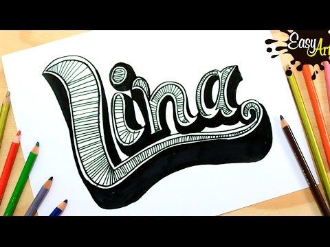 Como dibujar el nombre Lina con relieve