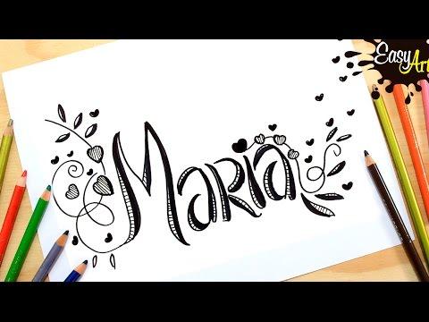 Como dibujar el nombre Maria fácil