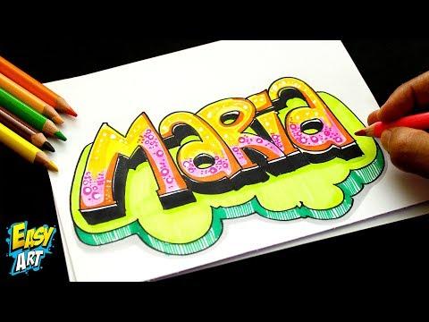 Como dibujar el nombre María muy fácil
