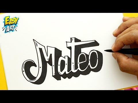 Como dibujar el nombre Mateo fácil