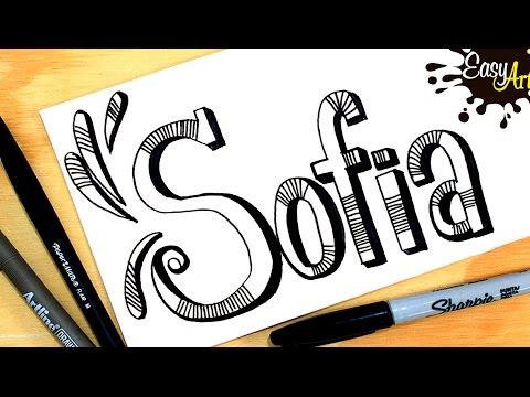 Como dibujar el nombre Sofía con relieve