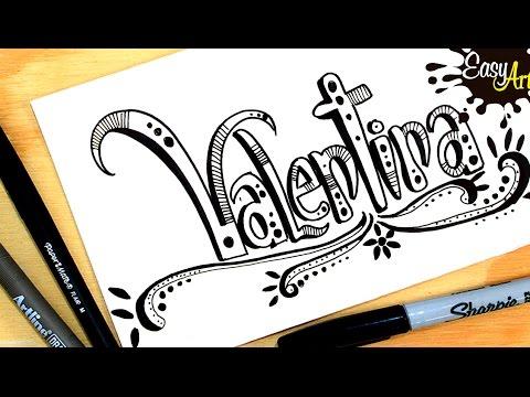Como dibujar el nombre Valentina
