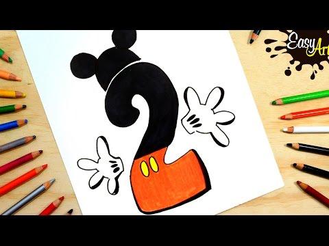 Como dibujar el número 2 estilo Mickey Mouse