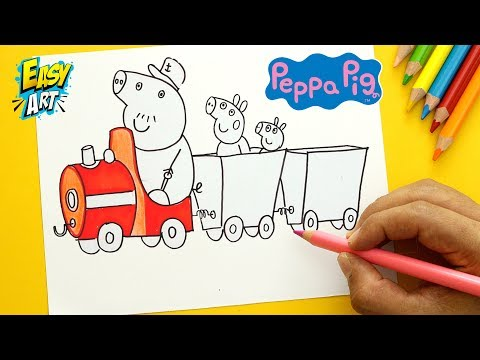 Como dibujar el Tren del Abuelo de Peppa Pig