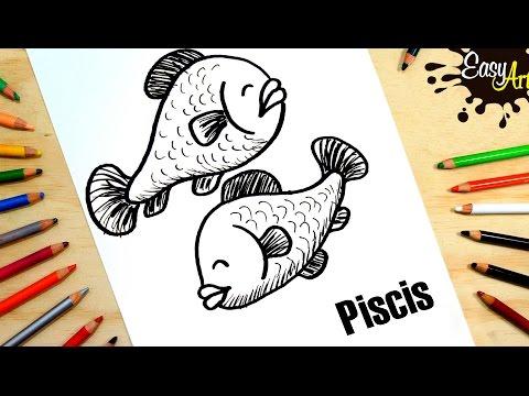 Como dibujar el zodiaco Piscis
