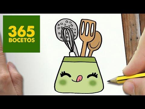 Como dibujar espátulas de cocina en su tarro