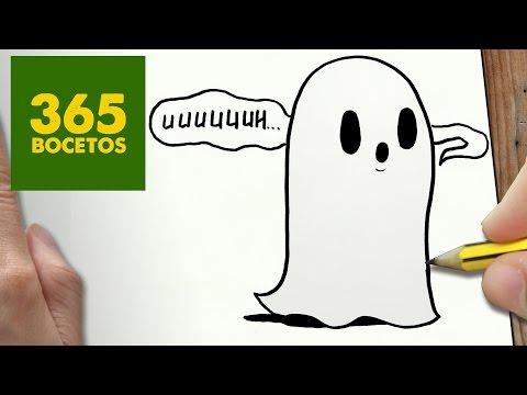 Como dibujar fantasma kawaii