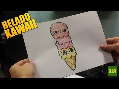 Como dibujar helado de tres bolas