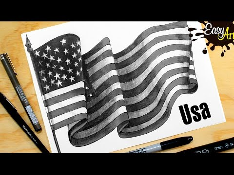 Como dibujar la bandera de Estados Unidos