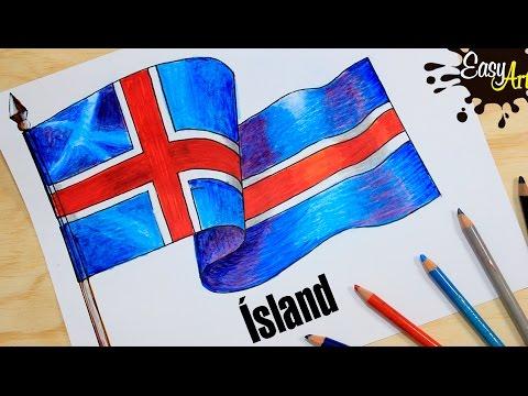 Como dibujar la bandera de Islandia fácil