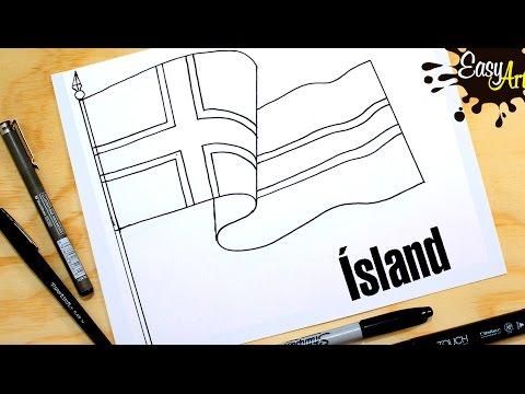 Como dibujar la bandera de Islandia