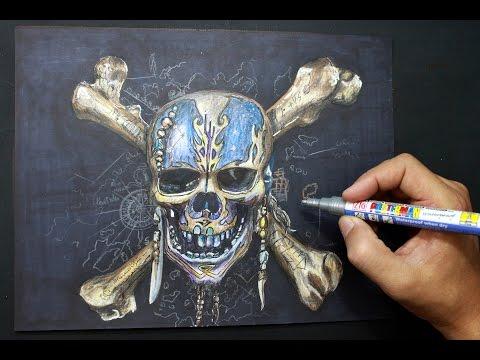 Como dibujar la calavera de Piratas del Caribe