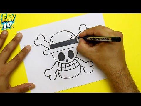 Como dibujar la Calavera Mugiwara de One Piece