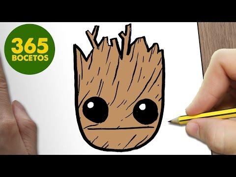 Como dibujar la cara de Groot de Marvel