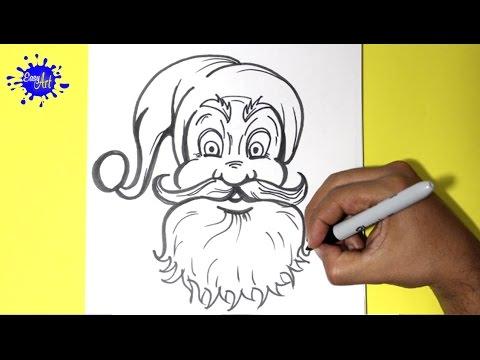 Como dibujar la cara de Santa Claus para Navidad