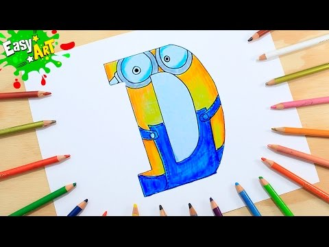 Como dibujar la letra D estilo Minion