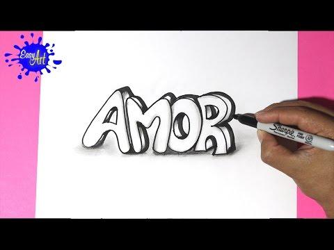 Como dibujar la palabra Amor con volumen para San Valentín