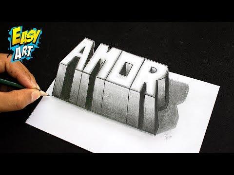 Como dibujar la palabra AMOR en 3D paso a paso