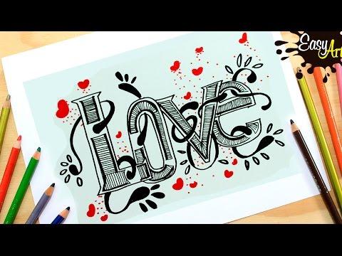 Como dibujar la palabra LOVE en 3D fácil