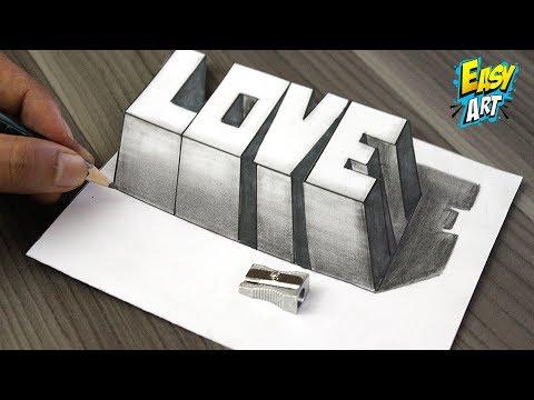 Como dibujar la palabra LOVE en 3D muy fácil