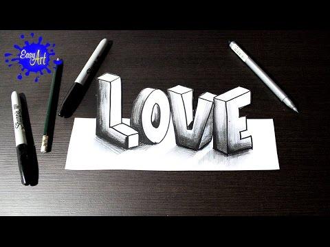 Como dibujar la palabra Love en 3D para San Valentín