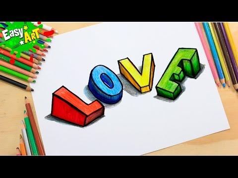 Como dibujar la palabra LOVE en 3D paso a paso