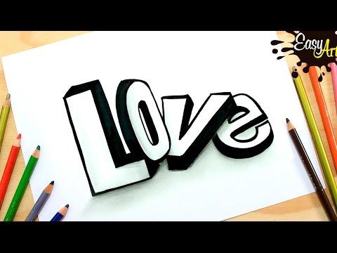 Como dibujar la palabra Love en 3D