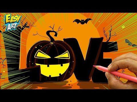 Como dibujar la palabra Love estilo Halloween