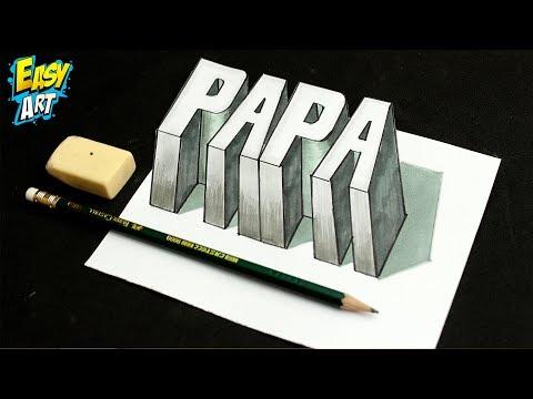 Como dibujar la palabra Papa en 3D