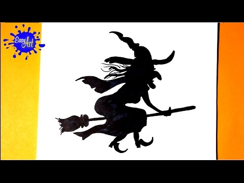 Como dibujar la silueta de una Bruja para Halloween