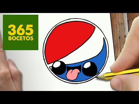 Como dibujar logo de pepsi kawaii