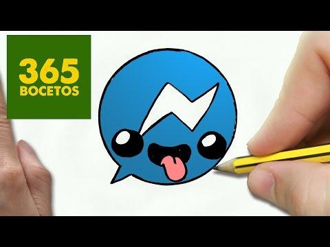 Como dibujar logo messenger kawaii