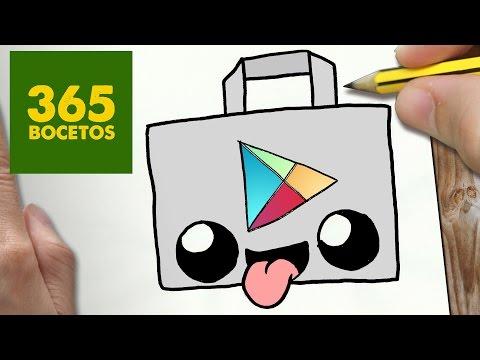Como dibujar logo Play Store Kawaii