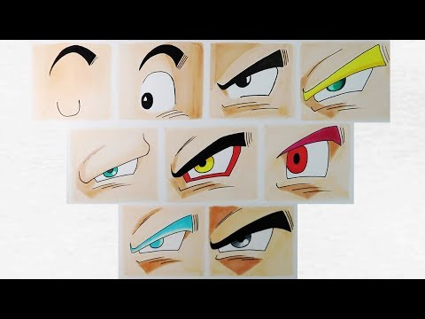 Como dibujar los ojos de Goku en todas sus fases